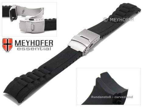 Watch strap -Vernon- 20mm black synthetic matt with curved ends clasp by MEYHOFER (width of clasp 18 mm) - Bild vergrößern