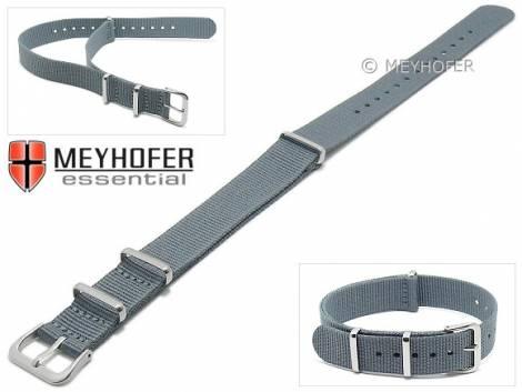 Watch strap -Kearney- 16mm grey textile/synthetic one-piece strap in NATO style by MEYHOFER - Bild vergrößern
