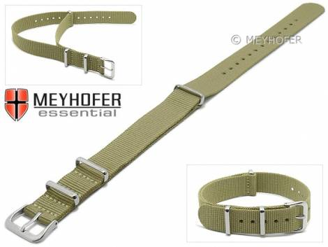Watch strap -Kearney- 14mm green grey textile/synthetic one-piece strap in NATO style by MEYHOFER - Bild vergrößern