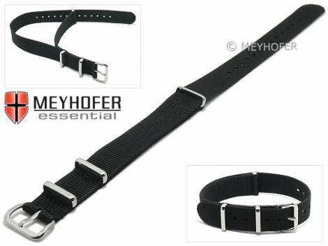 Watch strap -Kearney- 14mm black textile/synthetic one-piece strap in NATO style by MEYHOFER - Bild vergrößern