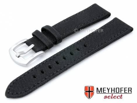 Watch strap -Sunnyvale Classic- 18mm black Canvas (textile) stitched by MEYHOFER (width of buckle 16 mm) - Bild vergrößern