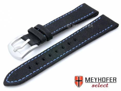 Watch strap -Sunnyvale- 18mm black Canvas (textile) blue stitching by MEYHOFER (width of buckle 16 mm) - Bild vergrößern