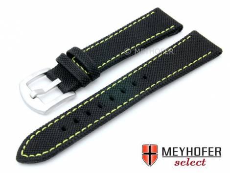 Watch strap -Sunnyvale- 20mm black Canvas (textile) yellow stitching by MEYHOFER (width of buckle 18 mm) - Bild vergrößern
