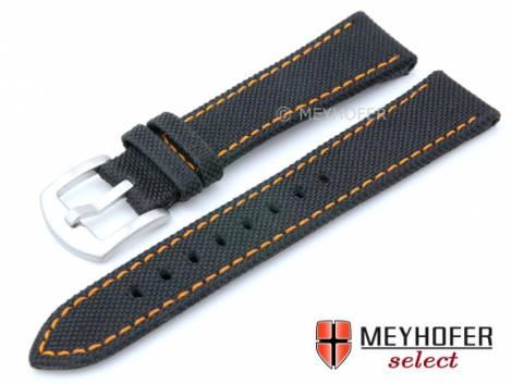 Watch strap -Sunnyvale- 18mm black Canvas (textile) orange stitching by MEYHOFER (width of buckle 16 mm) - Bild vergrößern