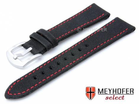 Watch strap -Sunnyvale- 20mm black Canvas (textile) red stitching by MEYHOFER (width of buckle 18 mm) - Bild vergrößern