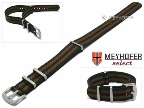 Watch strap -Milburn- 22mm black synthtic/textile red & green stripes 3 metal loops one-piece strap by MEYHOFER - Bild vergrößern