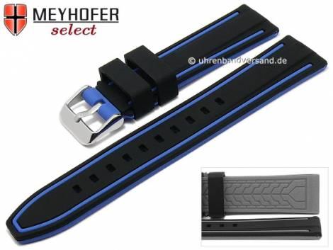 Watch strap -Flatwoods- 22mm black/blue silicone smooth matt by MEYHOFER (width of buckle 20 mm) - Bild vergrößern