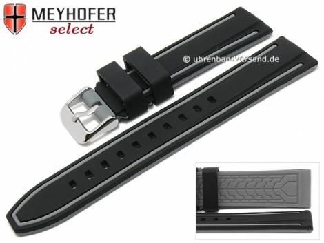 Watch strap -Flatwoods- 22mm black/grey silicone smooth matt by MEYHOFER (width of buckle 20 mm) - Bild vergrößern