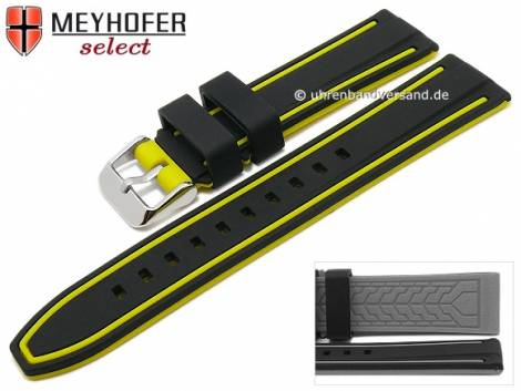 Watch strap -Flatwoods- 22mm black/yellow silicone smooth matt by MEYHOFER (width of buckle 20 mm) - Bild vergrößern