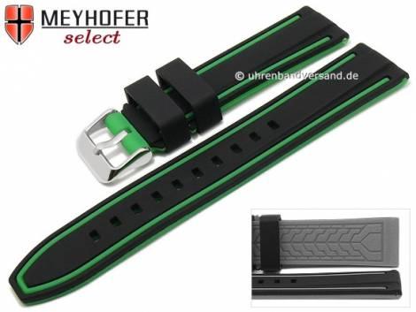 Watch strap -Flatwoods- 22mm black/green silicone smooth matt by MEYHOFER (width of buckle 20 mm) - Bild vergrößern