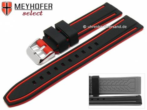 Watch strap -Flatwoods- 22mm black/red silicone smooth matt by MEYHOFER (width of buckle 20 mm) - Bild vergrößern
