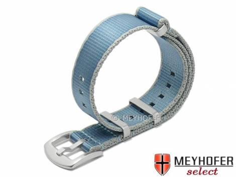 Watch strap -Willisburg- 20mm light blue/grey synthetic/textile one-piece strap in NATO style by MEYHOFER - Bild vergrößern