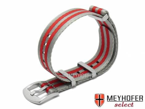 Watch strap -Hardinsburg- 22mm grey/red synthetic/textile one-piece strap in NATO style by MEYHOFER - Bild vergrößern