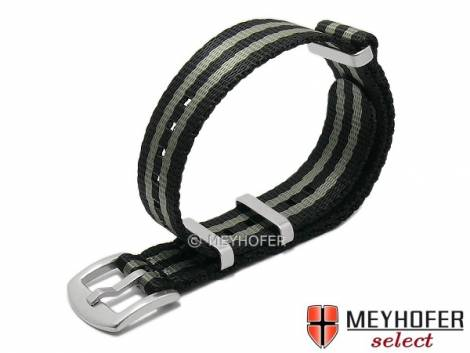 Watch strap -Hardinsburg- 22mm black/grey synthetic/textile one-piece strap in NATO style by MEYHOFER - Bild vergrößern