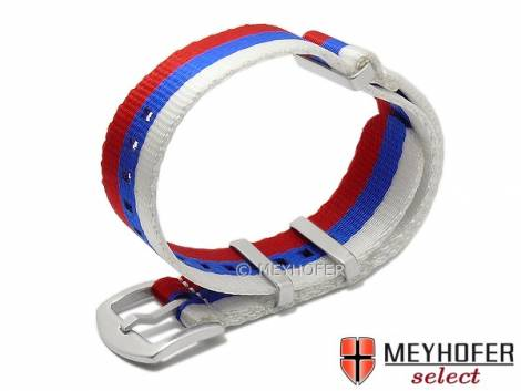 Watch strap -Kursk- 22mm white/blue/red synthetic/textile one-piece strap in NATO style by MEYHOFER - Bild vergrößern