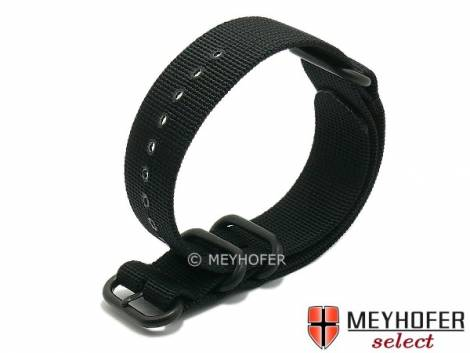 Watch strap -Escondido- 24mm black synthetic/textile NATO Zulu style metal black loops one-piece strap by MEYHOFER - Bild vergrößern