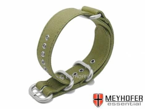Watch strap -Alvarado- 18mm oliv green canvas/textile one-piece strap in NATO Zulu style by MEYHOFER - Bild vergrößern