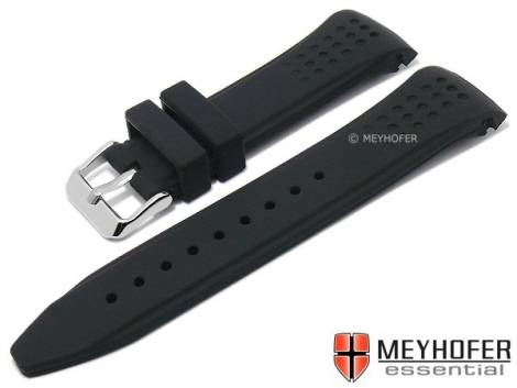 Watch strap -Jeffersonville- 22mm black silicone racing look with curved ends by MEYHOFER (width of buckle 20 mm) - Bild vergrößern