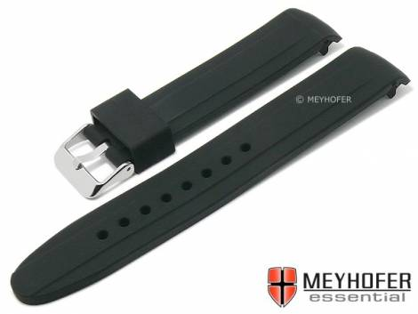 Watch strap -Ballwin- 18mm black silicone structure with curved ends by MEYHOFER (width of buckle 18 mm) - Bild vergrößern