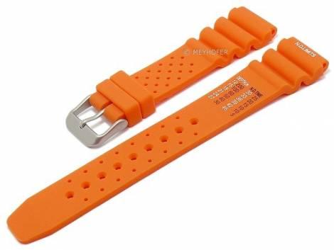 Watch strap -Allentown- 24mm orange rubber diver strap matt by MEYHOFER (width of buckle 20 mm) - Bild vergrößern