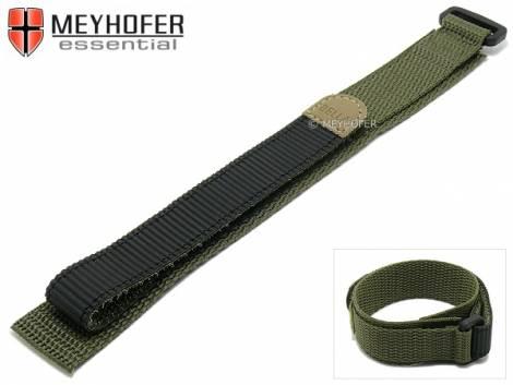Watch strap -Findlay- 18mm oliv green/black textile hook and loop fastener by MEYHOFER - Bild vergrößern
