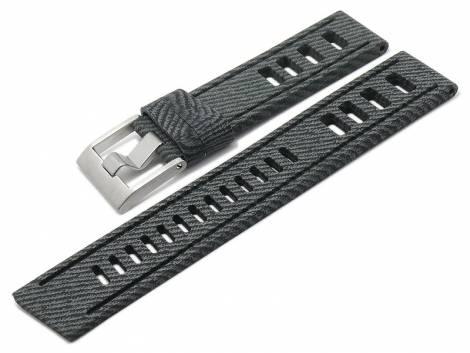 Watch strap -Grangeville- 24mm grey/black silicone jeans look with holes by MEYHOFER (width of buckle 24 mm) - Bild vergrößern