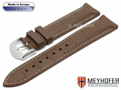 Watch strap -Montreux- 20mm brown caoutchouc alligator grain matt light stitching by MEYHOFER (width of buckle 18 mm) - Bild vergrößern
