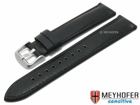 Watch strap -Hattiesburg- 20mm black VEGAN grained stitched by MEYHOFER (width of buckle 18 mm) - Bild vergrößern