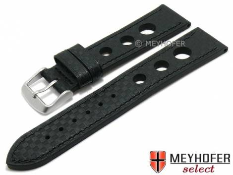 Watch strap -Yonkers Classic- 24mm black leather racing look carbon optics stitched by MEYHOFER (width of buckle 22 mm) - Bild vergrößern