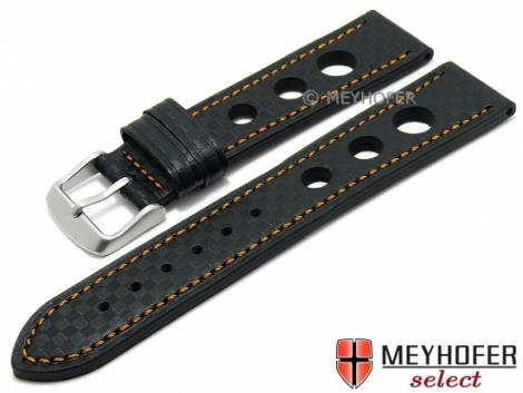 Watch strap -Yonkers- 24mm black leather racing look carbon optics orange stitching by MEYHOFER (width of buckle 22 mm) - Bild vergrößern