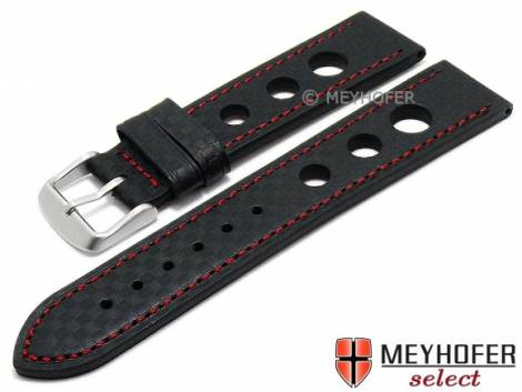 Watch strap -Yonkers- 24mm black leather racing look carbon optics red stitching by MEYHOFER (width of buckle 22 mm) - Bild vergrößern