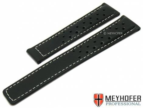 Watch strap -Guernsey- 20mm black leather racing look light stitching for clasp by MEYHOFER (width of buckle 18 mm) - Bild vergrößern
