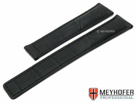 Watch strap -Alderney Classic- 20mm black leather alligator grain for clasp by MEYHOFER (width of buckle 18 mm) - Bild vergrößern
