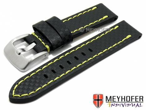 Watch strap -Lethbridge- 24mm black leather carbon look yellow stitching by MEYHOFER (width of buckle 24 mm) - Bild vergrößern
