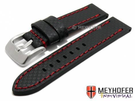 Watch strap -Lethbridge- 24mm black leather carbon look red stitching by MEYHOFER (width of buckle 24 mm) - Bild vergrößern