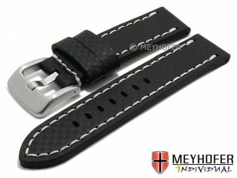 Watch strap -Lethbridge- 24mm black leather carbon look light stitching by MEYHOFER (width of buckle 24 mm) - Bild vergrößern
