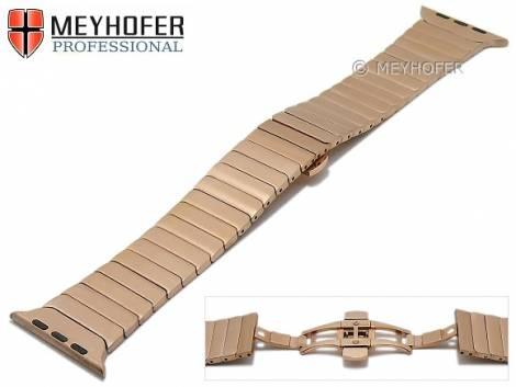 Watch strap -Westmont- 42mm rosé golden stainless steel for APPLE Smartwatches by MEYHOFER - Bild vergrößern