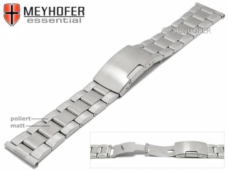 Watch strap -Hillsboro- 22mm stainless steel folded solid look partly polished by MEYHOFER - Bild vergrößern