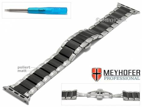 Watch strap -Eastport- 23mm stainless steel black/silver dual tone with APPLE adapter 42 mm by MEYHOFER - Bild vergrößern