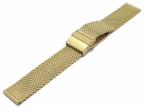 Watch strap -Grove- 22mm golden mesh medium structure polished with clasp by MEYHOFER - Bild vergrößern