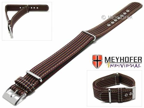 Watch strap -Andria- 22mm black textile red and yellow stripes one piece strap in NATO style by MEYHOFER - Made in Italy - Bild vergrößern