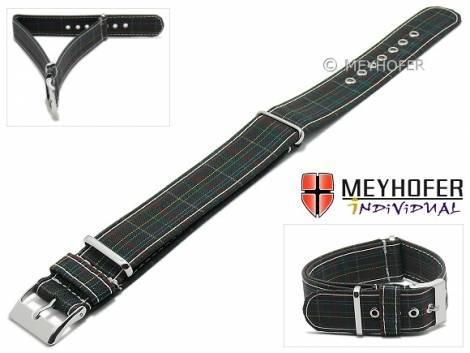 Watch strap -Brindisi- 22mm black textile red blue green stripes one piece strap in NATO style MEYHOFER - Made in Italy - Bild vergrößern