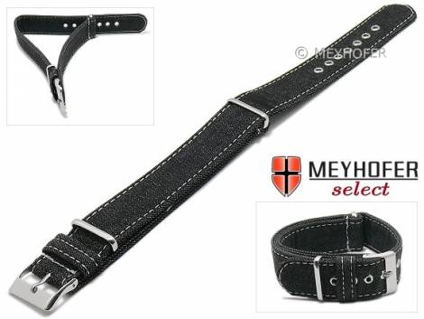 Watch strap -Grosseto- 22mm black textile jeans look one piece strap in NATO style by MEYHOFER - Made in Italy - Bild vergrößern