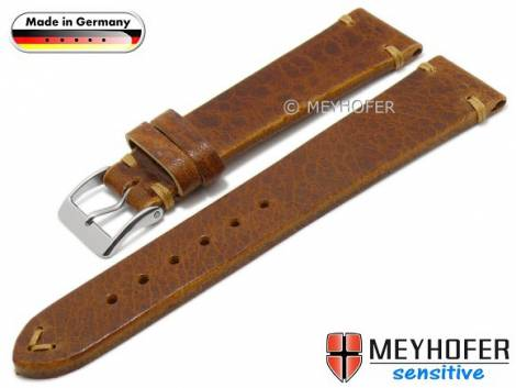 Watch strap -Freystadt- 20mm light brown leather vegetable tanned stitched by MEYHOFER (width of buckle 16 mm) - Bild vergrößern