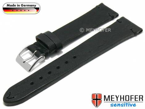 Watch strap -Freystadt- 22mm black leather vegetable tanned stitched by MEYHOFER (width of buckle 20 mm) - Bild vergrößern