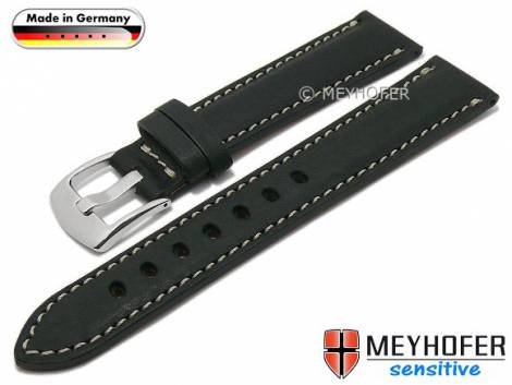 Watch strap -Kreuth- 20mm black leather vegetable tanned light stitching by MEYHOFER (width of buckle 18 mm) - Bild vergrößern