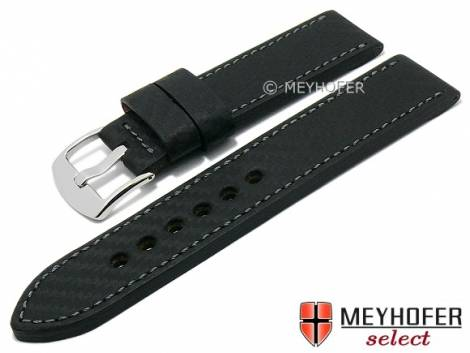 Watch strap -Hallstadt- 26mm black leather carbon look stitched by MEYHOFER (width of buckle 26 mm) - Bild vergrößern