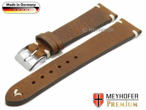 Watch strap -Erlangen- 22mm brown leather vintage look light stitching by MEYHOFER (width of buckle 20 mm) - Bild vergrößern