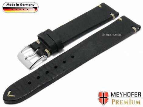 Watch strap -Erlangen- 22mm black leather vintage look light stitching by MEYHOFER (width of buckle 20 mm) - Bild vergrößern