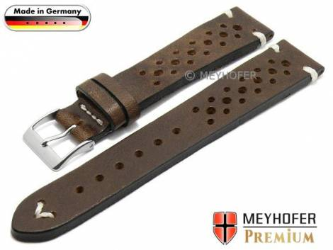 Watch strap -Grafenau- 19mm dark brown leather racing look vintage look light stitching MEYHOFER (width of buckle 16 mm) - Bild vergrößern